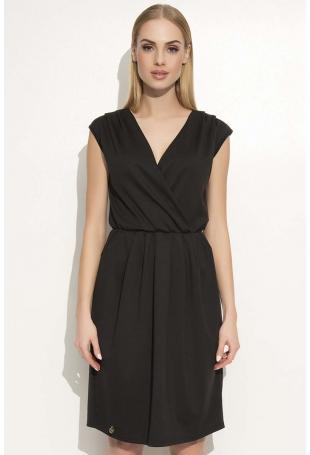 Czarna Sukienka z Kopertowym Dekoltem