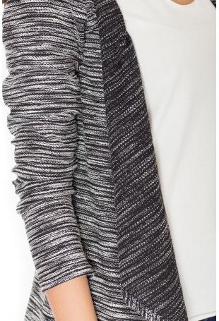 Szary Melanżowy Sweter-Narzutka z Wolnymi Połami