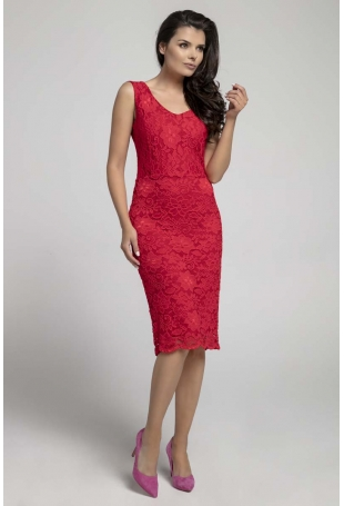 Czerwona Dopasowana Sukienka Koronkowa bez Rękawów