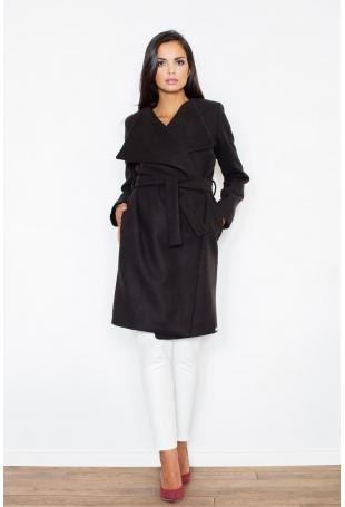 Czarny Elegancki Płaszcz Oversize Przewiązany Paskiem
