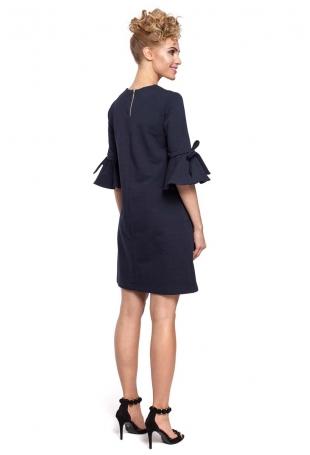 Granatowa Sukienka Trapezowa z Rozkloszowanymi Rękawami