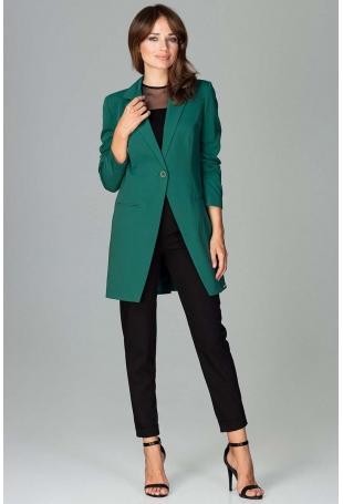 Zielony Długi Elegancki Żakiet na Jeden Guzik