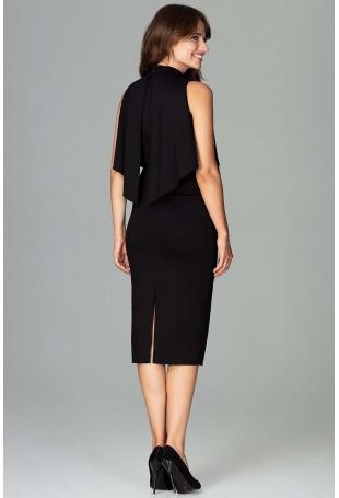 Czarna Wizytowa Dopasowana Sukienka Midi z Peleryną