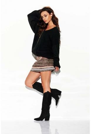Czarny Luźny Sweter z Dekoltem w Szpic