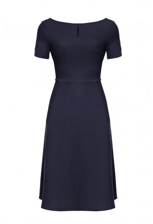 Granatowa Wizytowa Sukienka Midi z Krótkim Rękawem
