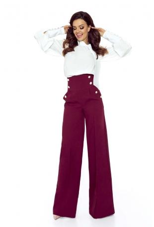 Bordowe Spodnie z Szerokimi Nogawkami z Wysokim Stanem