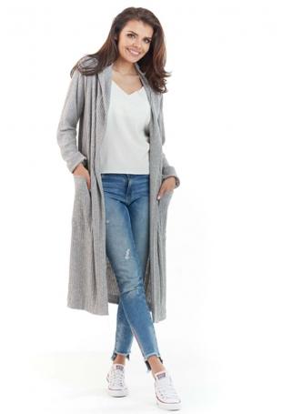 Szary Długi Sweter Narzutka z Kapturem
