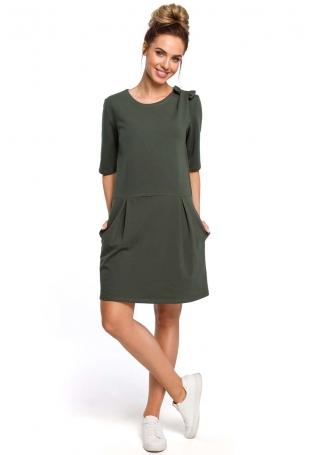 Zielona Kobieca Sukienka Dzianinowa z Kokardką na Ramieniu