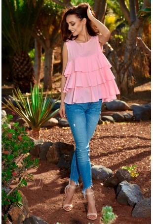 Różowa Trapezowa Kobieca Bluzka bez Rękawów Falbankami