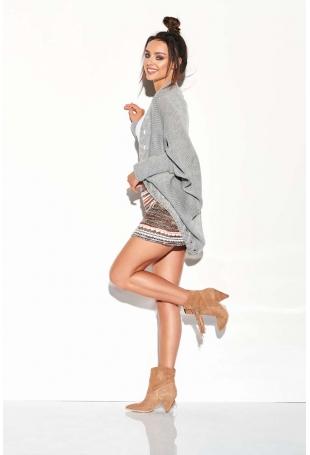 Jasnoszary Nietoperzowy Sweter z Ozdobnym Brzegiem