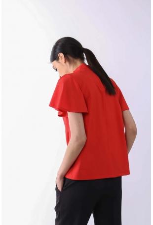 Czerwona Zwiewna Bluzka ze Stójką