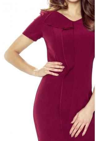 Bordowa Sukienka Elegancka Mini z Plisą
