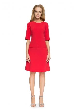 Trapezowa Mini Spódnica - Czerwona