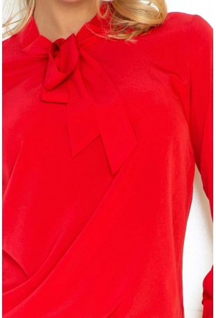 Czerwona Bluzka Elegancka z Wiązaną Szarfą