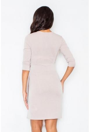 Beżowa Elegancka Sukienka z Wiązaniem