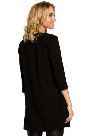 Czarny Elegancki Długi Żakiet bez Zapięcia