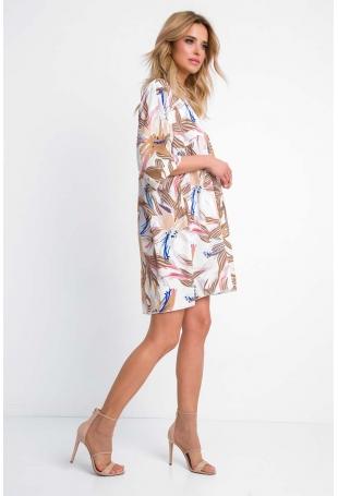 Luźna Sukienka z Dekoltem V w Pastelowe Kwiatki
