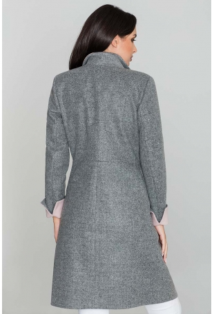 Szary Elegancki Taliowany Płaszcz z Różowymi Rewersami