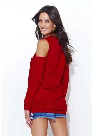 Czerwona Codzienna  Luźna Bluzka Typu Cold Shoulder