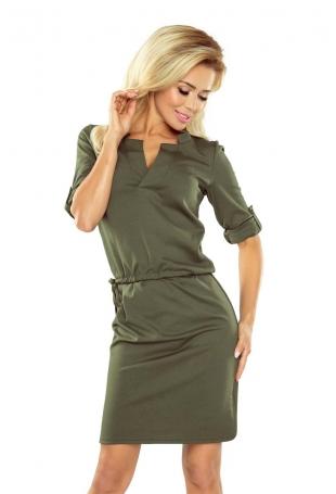Khaki Sukienka z Niską Stójką