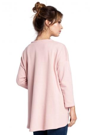 Pudrowy Sweter-Narzutka z Ozdobnym Sznurkiem