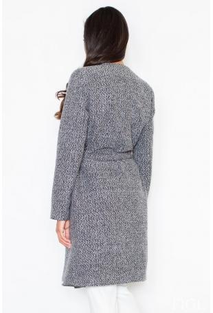 Szary Elegancki Płaszcz Oversize Przewiązany Paskiem