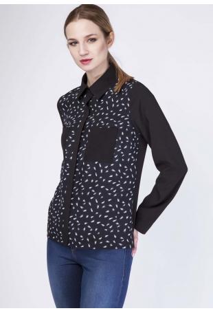 Czarna Koszula z Motywem Piór z Kieszeniami