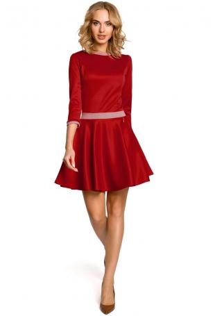 Czerwona Rozkloszowana Sukienka z Wstawkami w Pepitkę