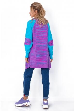 Niebieski Asymetryczny Kardigan w Bloki Kolorów