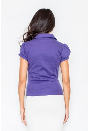 Ciemnofioletowa Elegancka Koszula z Krótkim Rękawem