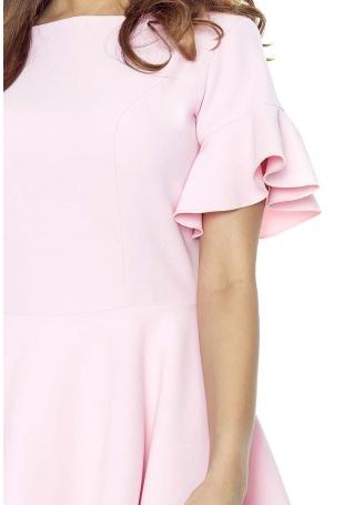 Różowa Sukienka z Rozkloszowanym Rękawem