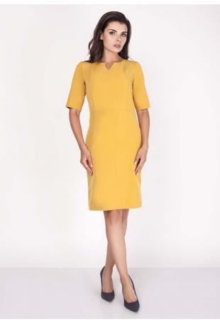 Żółta Sukienka Elegancka Dopasowana Midi z Krótkim Rękawem