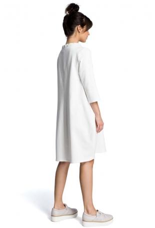 Ecru Luźna Sukienka z Wiązaniem przy Dekolcie