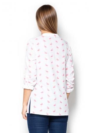 Koszula we Flamingi ze Stójką Zapinana na Zatrzaski