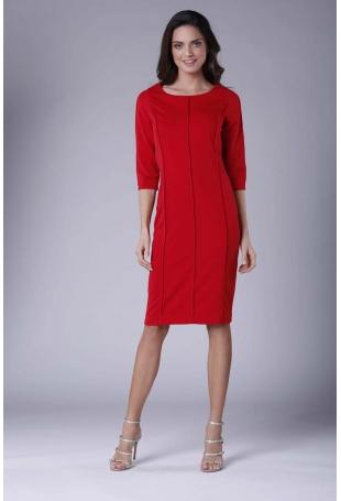 Czerwona Casualowa Sukienka Dzianinowa z Pionowymi Przeszyciami