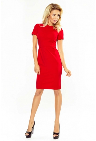 Czerwona Klasyczna sukienka Mini z Krótkim Rękawem