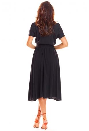 Czarna Rozkloszowana Midi Sukienka z Krótkim Kimonowym Rękawem