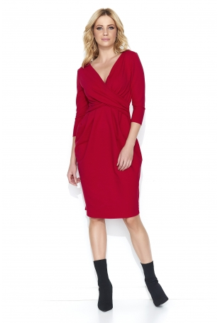 Wizytowa Czerwona Sukienka  Bombka z Kopertowym Dekoltem
