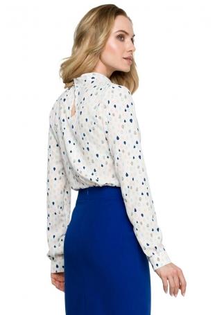 Elegancka Bluzka z Wzorem z Ozdobnym Dekoltem - Model 3
