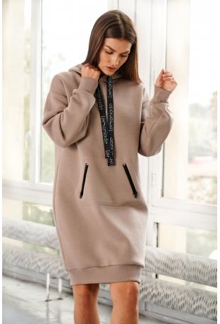 Sukienka Typu Bluza z Kapturem - Cappuccino