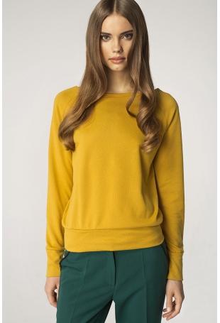 Prosty Żółty Sweter z Półokrągłym Dekoltem