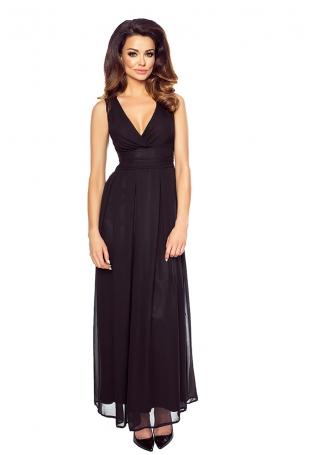 Czarna Elegancka Wieczorowa Sukienka Maxi z Kopertowym Dekoltem