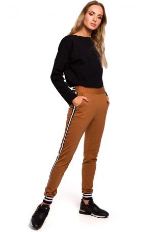 Karmelowe Dzianinowe Spodnie z Lampasem i Ściągaczami