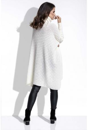 Ecru Sweter Oversizowy z Luźnym Golfem