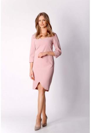 Różowa Klasyczna Prosta Sukienka z Asymetrycznym Rozporkiem