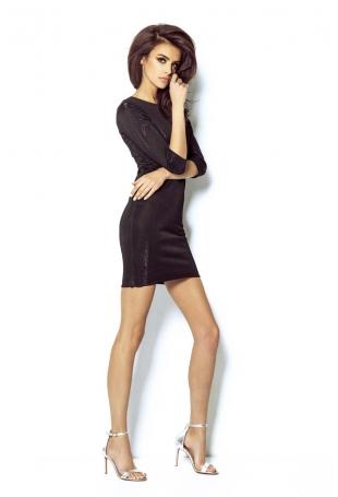 Czarna Sukienka Wieczorowa Błyszcząca z Dekoltem na Plecach