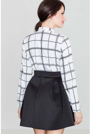 Czarna Rozkloszowana Mini Spódnica z Szeroką Plisą