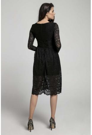 Czarna Wizytowa Rozkloszowana Sukienka z Koronki