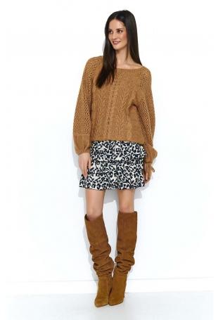 Oversizowy Kamelowy Sweter z Ażurowym Rękawem