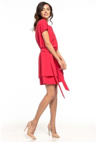 Malinowa Kimonowa Wizytowa Sukienka z Falbankami